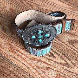 STREETS AHEAD | Turquoise Leather Belt